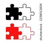 2 pieces puzzle design set | Shutterstock .eps vector #1258012834