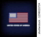 usa flag neon sign vector with... | Shutterstock .eps vector #1258023724