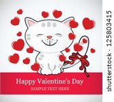 Stock vector valentine s day card kitten and hearts 125803415