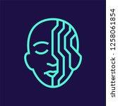 cyborg  artificial intelligence ... | Shutterstock .eps vector #1258061854