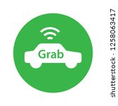 grab car application flat icon. ... | Shutterstock .eps vector #1258063417