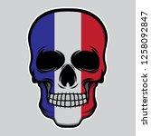 france flag head skull  vector... | Shutterstock .eps vector #1258092847