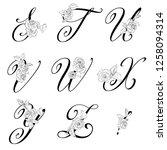 vector  floral uppercase... | Shutterstock .eps vector #1258094314