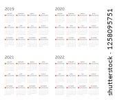 calendar for years 2019  2020 ...   Shutterstock .eps vector #1258095751