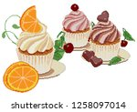 collection of tasty cakes of... | Shutterstock .eps vector #1258097014