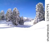 winter landscape in alpine... | Shutterstock . vector #1258097791