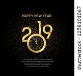 happy new year 2019. vector... | Shutterstock .eps vector #1258101067