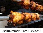 grilled and roasted chicken  in ... | Shutterstock . vector #1258109524