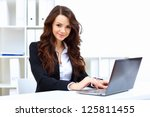 young pretty business woman... | Shutterstock . vector #125811455
