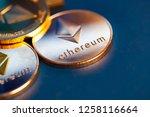 ethereum cryptocurrency golden... | Shutterstock . vector #1258116664