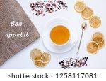 orange herbal flavored...   Shutterstock . vector #1258117081