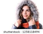 beautiful young woman portrait... | Shutterstock . vector #1258118494