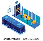 isometric artwork  of people... | Shutterstock .eps vector #1258120321