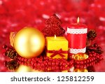 red candle with christmas... | Shutterstock . vector #125812259