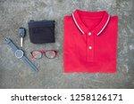 trendy in summer  red t shirt... | Shutterstock . vector #1258126171