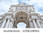 the rua augusta arch is a stone ... | Shutterstock . vector #1258128961