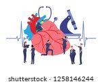 small doctors examining a... | Shutterstock .eps vector #1258146244