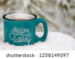 blue hot mug steam rising relax ... | Shutterstock . vector #1258149397