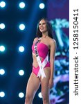 Small photo of Bangkok, Thailand - Dec 13, 2018: Catriona Gray of Philippines poses in swimsuit during the Miss Universe 2018 preliminary round, the final to be held in Bangkok on 17 December
