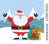 jolly santa claus cartoon... | Shutterstock . vector #1258178101