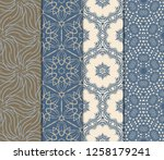 seamless set geometric floral... | Shutterstock .eps vector #1258179241