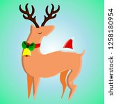 christmas deer with a bell... | Shutterstock .eps vector #1258180954