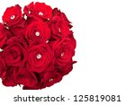 Stock photo bouquet of red roses with diamonds 125819081