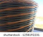 wicker basket close up texture... | Shutterstock . vector #1258192231