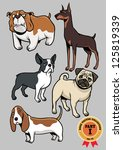 ,animal,art,basset hound,boston,boston terrier,breed,brown,bulldog,canine,cartoon,character,cheerful,collection,comic