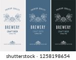 collection of beer labels in... | Shutterstock .eps vector #1258198654