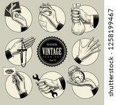 set of round icons in vintage... | Shutterstock . vector #1258199467