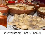 laid festive table with... | Shutterstock . vector #1258212604