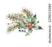 watercolor christmas vintage... | Shutterstock . vector #1258213384