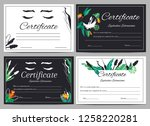 set of diploma certificates... | Shutterstock .eps vector #1258220281