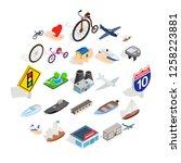 locomotion icons set. isometric ... | Shutterstock .eps vector #1258223881