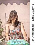 pretty brunette girl with long...   Shutterstock . vector #1258223941