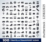 mega travel and transport icon... | Shutterstock .eps vector #125822825