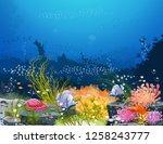 underwater world   real... | Shutterstock .eps vector #1258243777