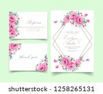 floral wedding invitation with... | Shutterstock .eps vector #1258265131
