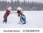 happy family playing snowballs... | Shutterstock . vector #1258288594