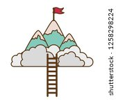mountain with flag and ladder... | Shutterstock .eps vector #1258298224