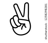 hand showing victory sign line... | Shutterstock .eps vector #1258298281