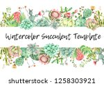 watercolor hand drawn... | Shutterstock . vector #1258303921