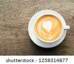 coffee cup top view on old... | Shutterstock . vector #1258314877