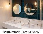 row of modern marble ceramic... | Shutterstock . vector #1258319047