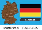 map of germany and flag of... | Shutterstock .eps vector #1258319827