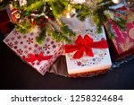 christmas tree decoration with... | Shutterstock . vector #1258324684
