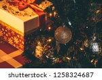 christmas tree decoration with... | Shutterstock . vector #1258324687