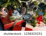 christmas tree decoration with... | Shutterstock . vector #1258325251