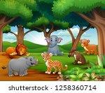 animals cartoon are enjoying... | Shutterstock . vector #1258360714